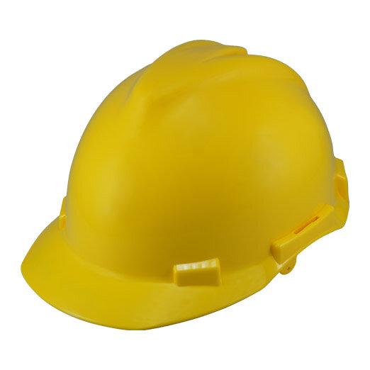 Yellow Helmet with 6-Point Ratchet Nylon Suspension