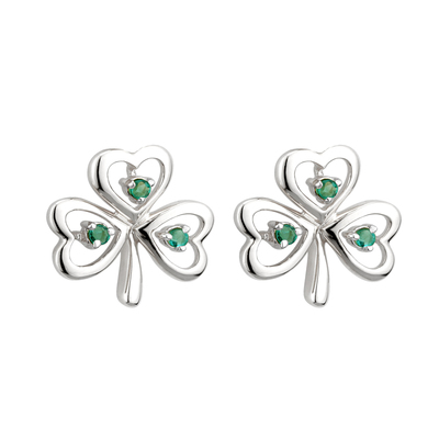 14K WHITE GOLD EMERALD SHAMROCK EARRINGS (BOXED)