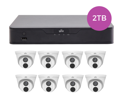 Uniview 8CH 2TB PoE 4K NVR and 8 x 4MP Eyeball Turret Cameras