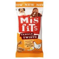 Misfits Tangly Twists Dog Treats - Chicken & Egg 140g x 10