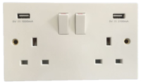 lincoln double socket 13 amp with usb