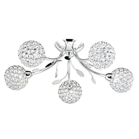 Bellis Ii Chrome 5 Light Fitting With Clear Glass Shades