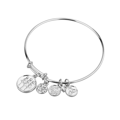 SILVER TONE IRISH DANCING BANGLE