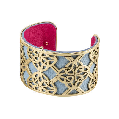 GOLD PLATED LEATHER WIDE FOUR TRINITY KNOT BANGLE (BOXED)