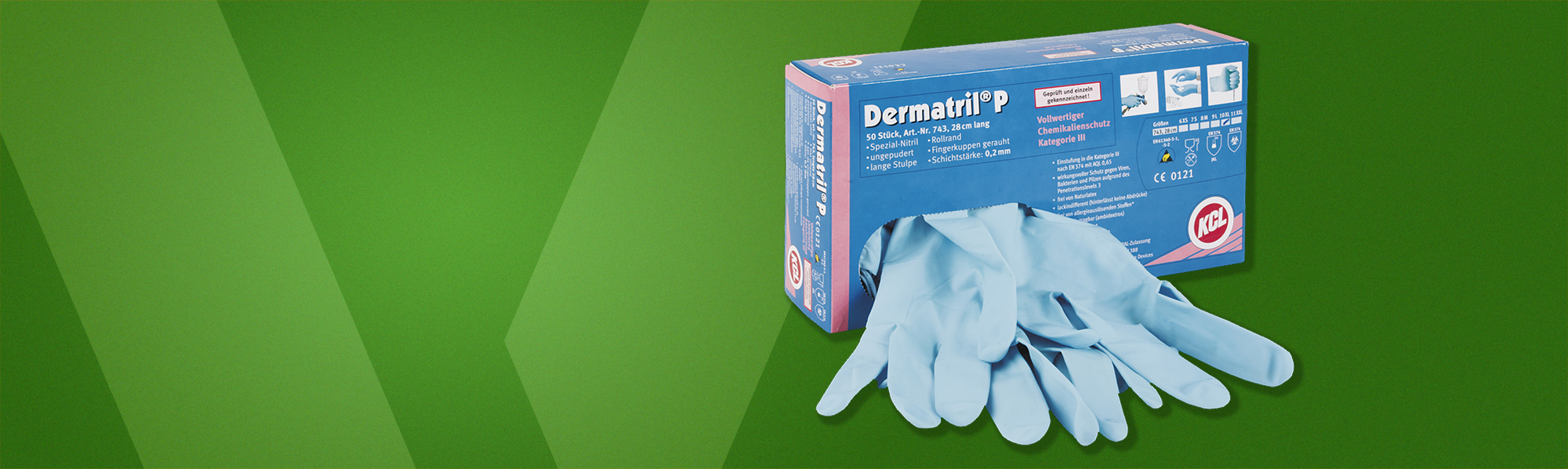 KCL Dermatril P 743, chemical resistant gloves to protect hands against n-Heptane, Sodium hydroxide 40%, and Sulphuric acid 96%.