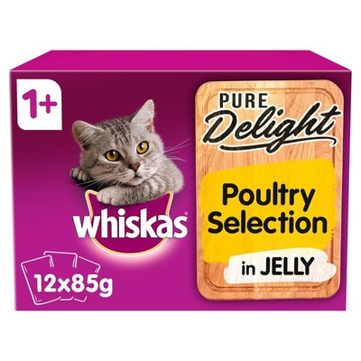 Whiskas 1+ Pouch Pure Delights Poultry Selection in Jelly 85g 12-Pack x 4