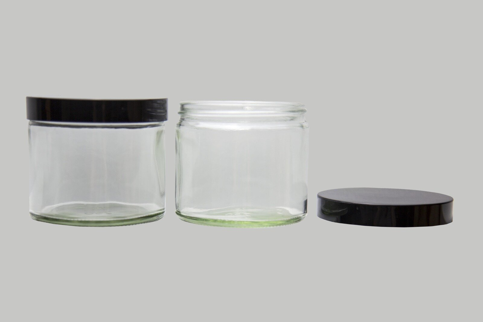 Ointment Jars Clear Glass Black Cap 120M