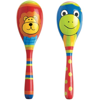 Wooden Lion and Frog Maracas