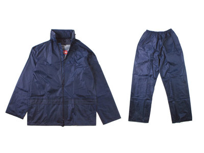 Rainsuit 2-Piece PVC Nylon Navy Large