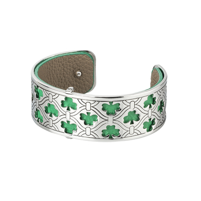 RHODIUM PLATED LEATHER SHAMROCK CUFF BANGLE