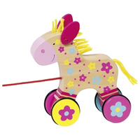 Colourful wooden pull along toy horse for toddlers