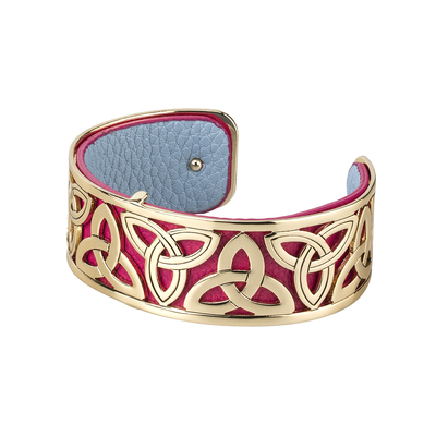 RED GOLD PLATED LEATHER TRINITY CUFF BANGLE