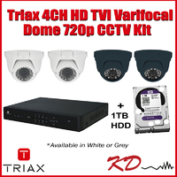 Triax 720p Varifocal Dome 4 Channel Kit- Grey
