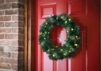 Pre-Lit Glitter Tip Wreath Green