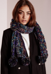 Pom Pom Knitted Scarf Speckled Navy