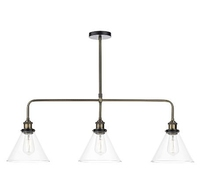 Ray 3 Light Bar Pendant, Antique Brass Clear | LV1802.0085