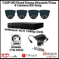 4 Camera CCTV 720p Fixed Dome Kit - Grey
