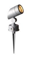 ROBUS GU10 50W GARDEN SPIKE COMES WITH ADJUSTABLE SLOPED HEAD SATIN SILVER