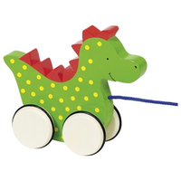 Wooden pull along toy dragon for toddlers