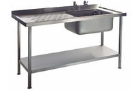 Sink Unit Stainless Steel  Single Bowl 1800mm x 650mm