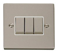 Click Deco Victorian Pearl Nickel with White Insert 3 Gang 2 Way 'Ingot' Switch | LV0101.0126