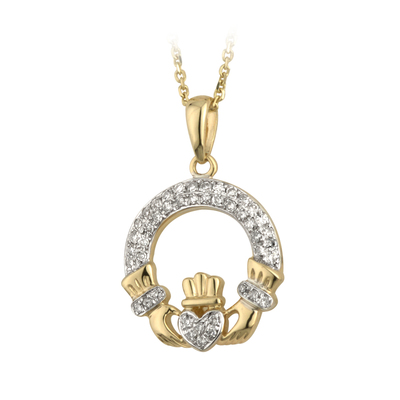 14K MICRO DIAMOND CLADDAGH PENDANT(BOXED)