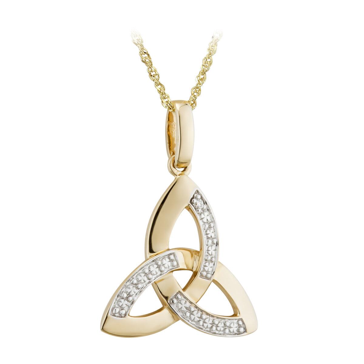 14k two tone gold diamond trinity knot pendant s44419 from Solvar