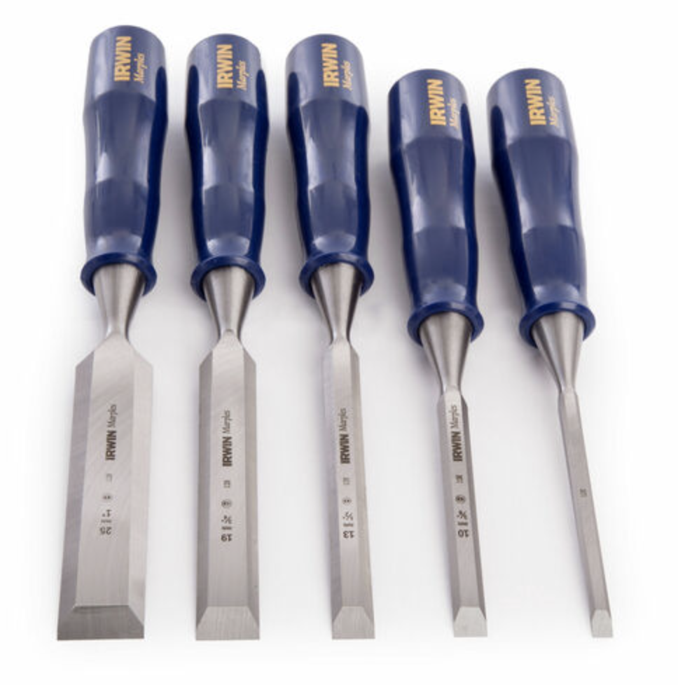 Irwin Marples TM444S5 Blue Chip Bevel Edge Chisel Set 5pc