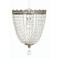 Ekon Glass Beaded Pendant Shade Satin Nickel
