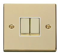 Click Deco Victorian Polsihed Brass with White Insert 2Gang 2 Way 'Ingot' Switch | LV0101.0149