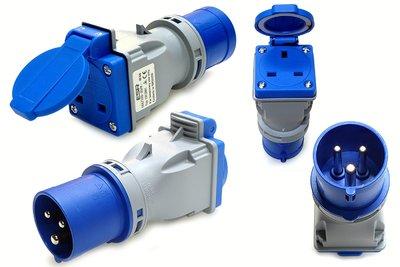 13amp 3pin UK Socket to 16amp 240v 2P+E Adaptor