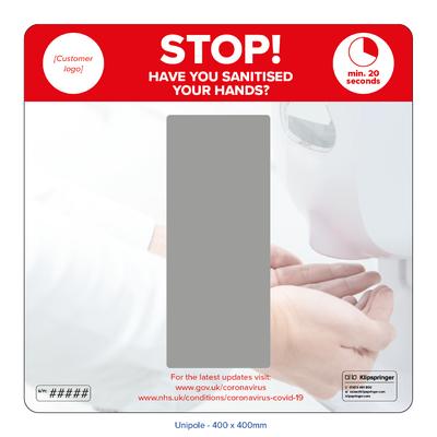 Wall mounted hand sanitiser station - single dispenser
