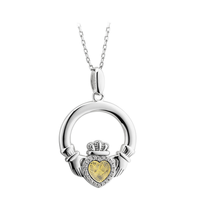 SILVER MOVING GOLD HEART CLADDAGH PENDANT