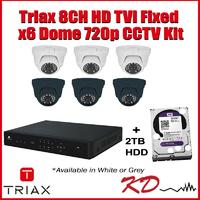Triax 720p 8CH Dome CCTV Kit - Grey