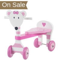 wooden pink mouse trike