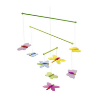 Colourful wooden butterfly mobile for above a crib
