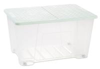 Rattan Lid Storage Box 50L Green W/Wheel  (W57 X D39 X H32 Cm)