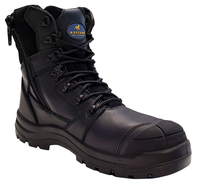Mustang 7110Z Nitrile Sole 300°C Lace Up Zip Safety Boot with Scuff Cap Black