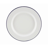 Wide Rim Plate Enamel White With Blue Edge 26cm