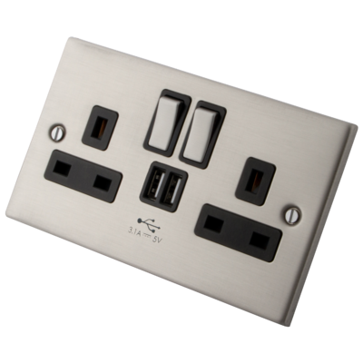 Stainless Steel Switched Socket 2 Gang 13 Amp with 2 x USB