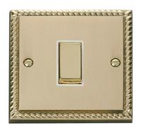 Click Deco Georgian Cast Brass with White Insert 1 Gang Intermediate Switch | LV0101.0057