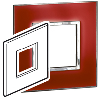 Arteor (British Standard) Plate 2 Module 1 Gang Square Mirror Red| LV0501.0770
