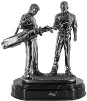 25cm Golfer & Caddy (Silver Metal Finish)