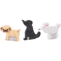 set of three wooden puppy themed puzzles