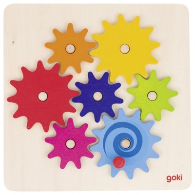 Colourful wooden cog wheel game - base pieces