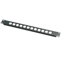 Euromet 00568 | Front XLR rack panel, 1U, 12 holes, Black