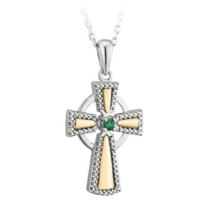 SILVER 10K GOLD DIA & EM CROSS PENDANT(BOXED)