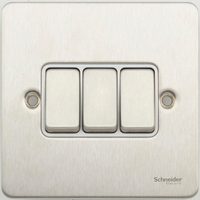 Flat Plate Stainless Steel 16AX 3G 2 Way SWITCH WHITE | LV0701.0077