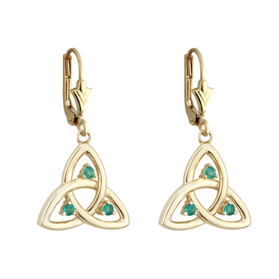14K EMERALD TRINITY KNOT DROP EARRINGS (BOXED)