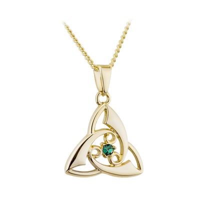 GOLD PLATED GREEN CRYSTAL TRINITY KNOT PENDANT